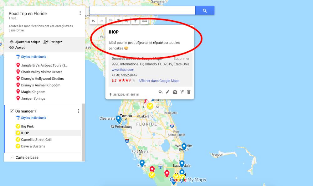 itinéraire avec My Maps